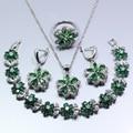 Estilo occidental Verde Creado Esmeralda 925 Anillo de Plata Mujeres 4 UNIDS Pendientes Determinados de La Joyería Collar Pulsera Caja de Regalo