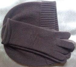 Angebote 100% ziegenkaschmirfrauen hut handschuhe 2 teile/satz schwarz braun 2 farben geprägte M (54-56 cm)