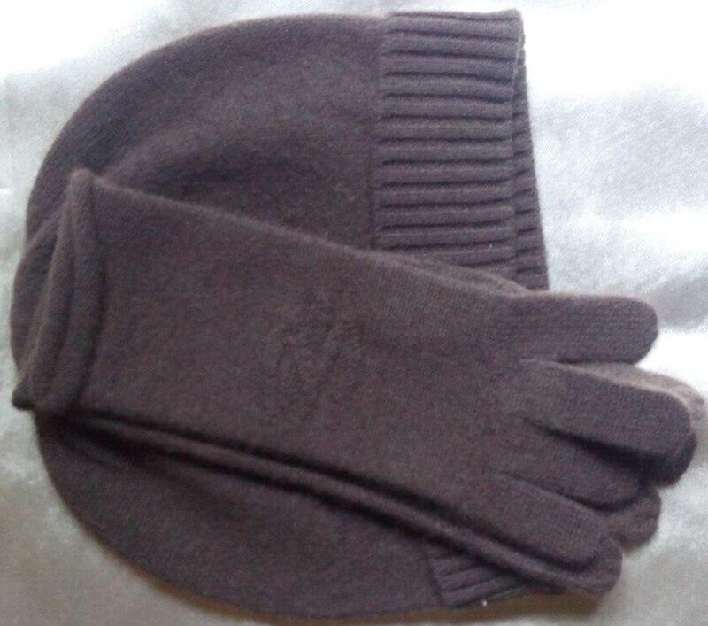Especiales 100% las mujeres de la Cachemira sombrero guantes 2 unids set  negro marrón 2 colores en relieve m (54-56 cm) ce5f4efa4f9