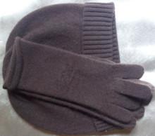 Promocje 100 koziej kaszmiru kobiet kapelusz rękawiczki 2 sztuk zestaw czarny brązowy 2 kolory tłoczone M (54-56 cm) tanie tanio Szalik Kapelusz i rękawiczki zestawy WOMEN Dla dorosłych Moda Stałe 27cm CASHMERE 0 09kg 24cm Z1604