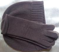 specials 100%goat cashmere women hat gloves 2pcs/set black brown 2colors embossed M(54 56cm )