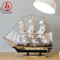 LUCKK 45CM Wooden Model Ship Nordic Vintage Home Interior Decoration Sea Wood Crafts Gift Room Handmade Sailing Model Souvenir