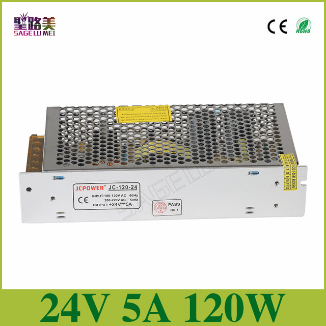 Universal Regulated Switching Power Supply electronic transformer,output DC24V 5A 120w,input 110v-220v Driver,CCTV PSU LED strip