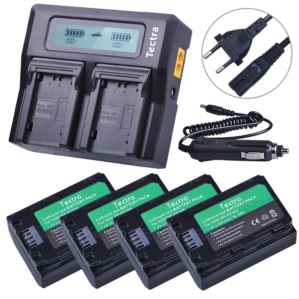4pcs NP FZ100 NP-FZ100 NPFZ100 batteries + AC Fast LCD Dual Charger for Sony ILCE-9, BC-QZ1, a7r3, A7RIII, ILCE-7RM3, A9R, 7RM3 durapro 4pcs np f970 np f960 npf960 npf970 battery lcd fast dual charger for sony hvr hd1000 v1j ccd trv26e dcr tr8000 plm a55
