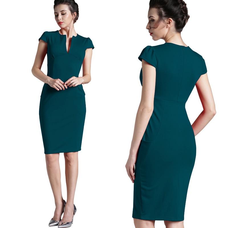 Nice-forever Office Women Vintage Summer Solid Deep V neck Zipper Back Formal Stretch Pencil work Bodycon Pocket Dress 521 10