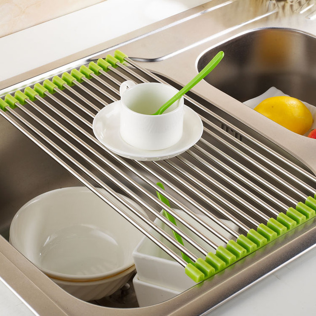Unique Designed Foldable 304 Stainless Steel Dish Rack Bowl Strong Dinner  Holder Dinner Plate Holder Kitchen
