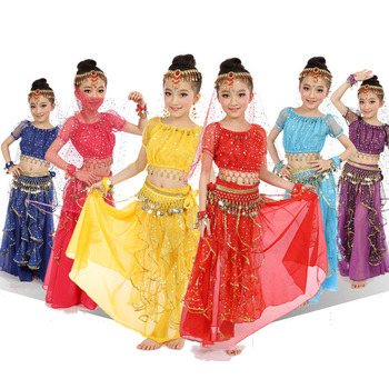 Teenager Girls India Belly Dancing Costumes Kids Lace Dress Performance Stage Wear with Chains Princess Girls Party Dress индийский костюм для танцев девочек