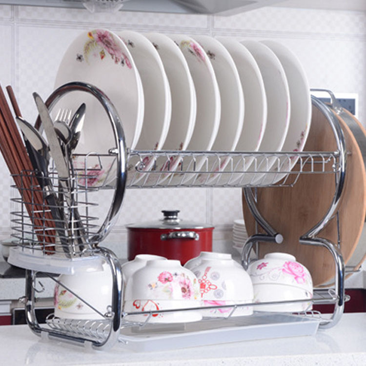Homestyle 2 Tiers Stainless Steel <font><b>Dish</b></font> Rack <font><b>Kitchen</b></font> <font><b>Cup</b></font> <font><b>Drying</b></font> Rack Drainer Dryer Tray <font><b>Cutlery</b></font> <font><b>Holder</b></font> <font><b>Organizer</b></font>