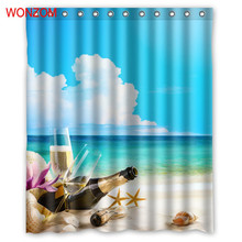 WONZOM Enjoy Holiday Shower Curtains with 12 Hooks For Bathroom Decor Modern Beach Bath Waterproof Curtain Accessories
