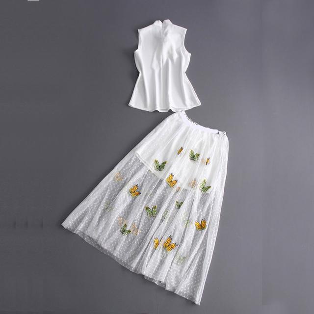 Europa E Nos Estados Unidos Primavera Verão 2017 Novos das Mulheres Sem Mangas Camisa Branca + Saia de Gaze Bordado Terno D630