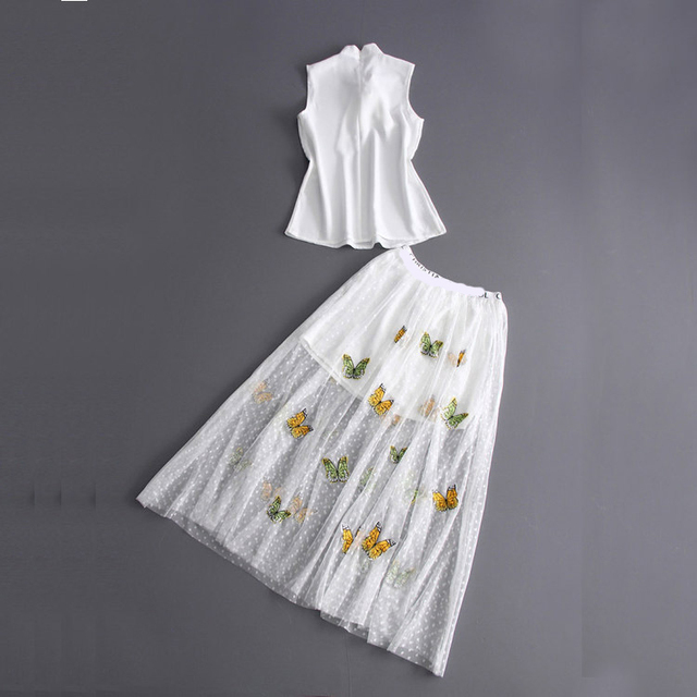 Europe And United States Spring Summer 2017 New Women's Sleeveless White Shirt + Gauze Embroidery Skirt Suit D630
