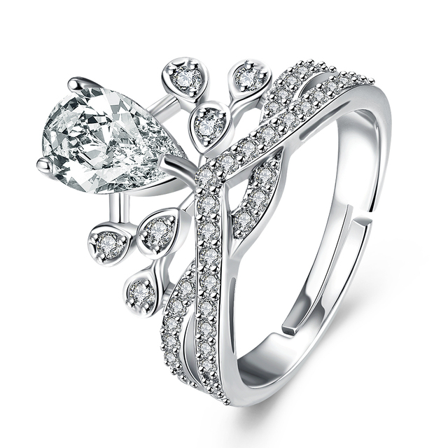 Wedding Jewelry Adjule Ring Crown Design Silver Rings With Zircon For Women Anillo De Plata