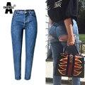 AChiewell Plus Resorte del Tamaño de Las Mujeres BF Vaqueros Caderas Cintura Alta Azul de Un Solo Pecho Larga Delgada Mujer Pantalones Denin pantalones vaqueros
