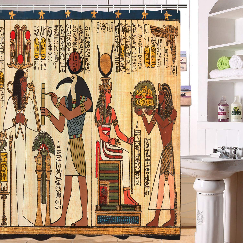 Ancient Egyptian Pharaoh/'s Tomb Shower Curtain Set Bathroom Waterproof Fabric