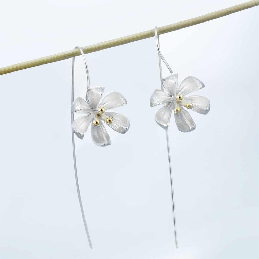 シルバーロング花のイヤリング新デザインラブリーガールズギフトステートメントジュエリー Pendientes プラタ 925 卸売