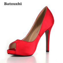 Batzuzhi 2018 Basic Women Shoes Open Toe Sexy 12cm Red High Heels Women Dress Shoes Red Wedding Shoes Ladies Zapatos Mujer, 43 2017 summer red satin elegant wedding bridal shoes women stiletto high heels pears chain ladies sandals zapatos mujer 0640a 13k