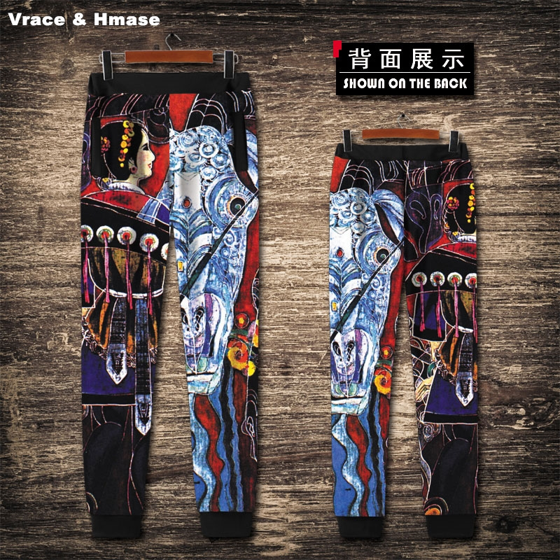 European style retro oil painting digital printing streetwear joggers New arrival high quality oversized hip hop pants men S 4XL