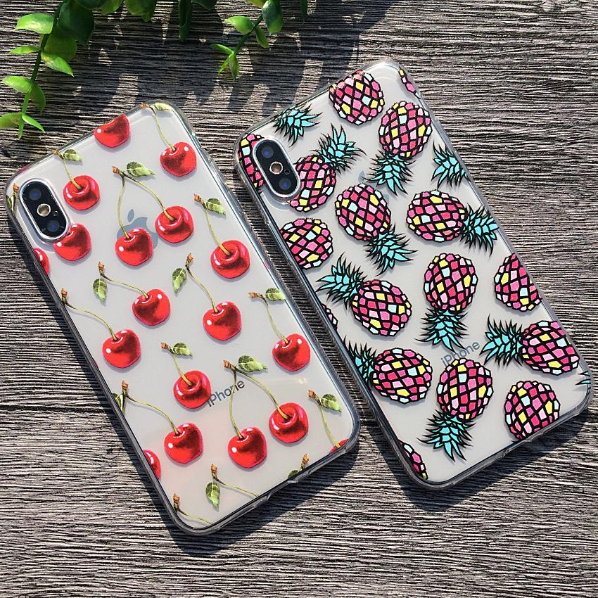 Fashion Phone Case For iPhone X 8 Plus Cases Soft TPU Merry Christmas Cover For iPhoneX Silicone Shell Summer Fruit