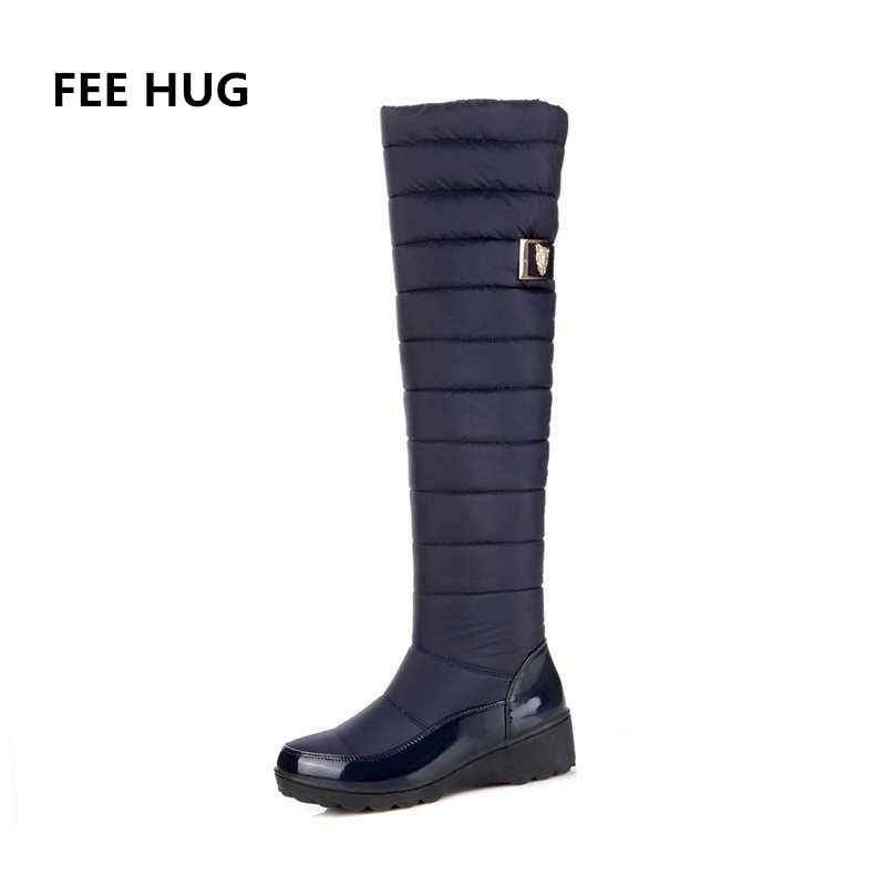 FEE HUG Russia Winter Shoes Women Warm Knee High Boots Round Toe Down Fur Ladies Fashion Thigh Snow Boots Shoes Waterproof Botas karinluna women half knee snow boots rubber sole round toe platform warm fur shoes winter ladies footwear bootas mujer