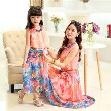 Родитель — ребенок наряд и лето шифоновое платье из девушек чешский платье пляже