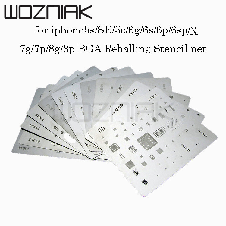 12pcs/lot high quality full set IC CHIP  BGA Reballing Stencil dedicate kit for iPhone5S SE 6g 6p 6s 6sp 7g 7p x 8g 8p12pcs/lot high quality full set IC CHIP  BGA Reballing Stencil dedicate kit for iPhone5S SE 6g 6p 6s 6sp 7g 7p x 8g 8p