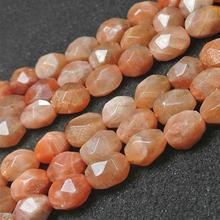 Natural facetado oval olivary arroz sunstone grânulos para fazer jóias grânulos pulseiras para presente feminino 15 beads beads diy grânulos trinket