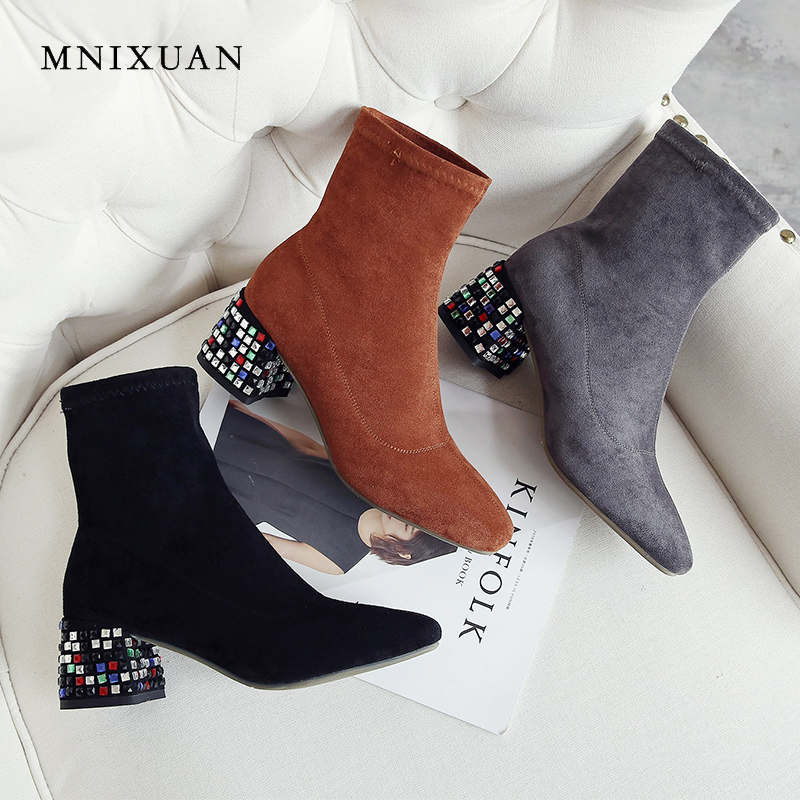 MNIXUAN women shoes high heels 2018 antumn square toe suede shoes ankle boots short stretch boots with crystal black big size 9 подвеска слон 13см стекло
