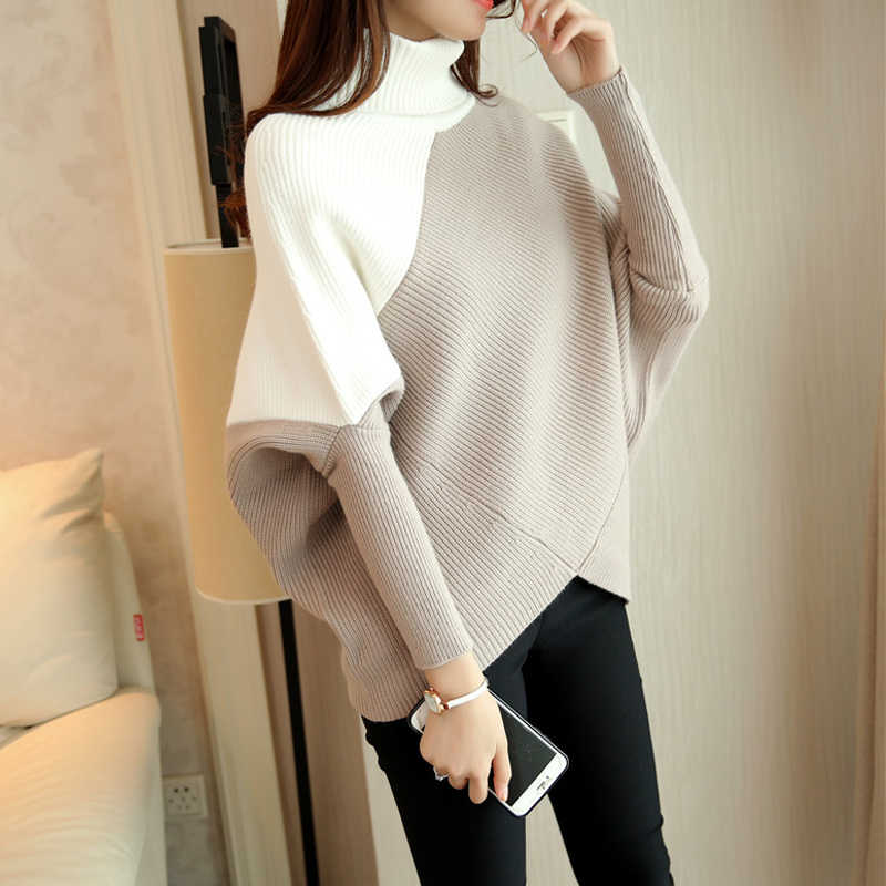 Women Sweaters And Pullovers Feminino Pullover Female Winter Sweater Loose Turtleneck Irregular Korean Backing Coat