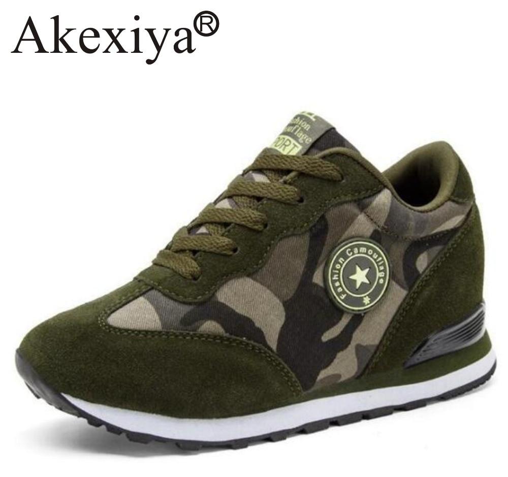 Akexiya Women Sneakers Hidden Heels Platform Wedges Sneakers Ladies Height Increasing Sport Running Shoes Woman Walking Shoes