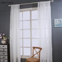 Thanh lịch Door Window Curtain Drape Bảng Điều Chỉnh Sheer Tự Nhiên Linen Sọc Rèm Cửa Hoa Văn đối living romm thời trang rèm cửa vải tuyn