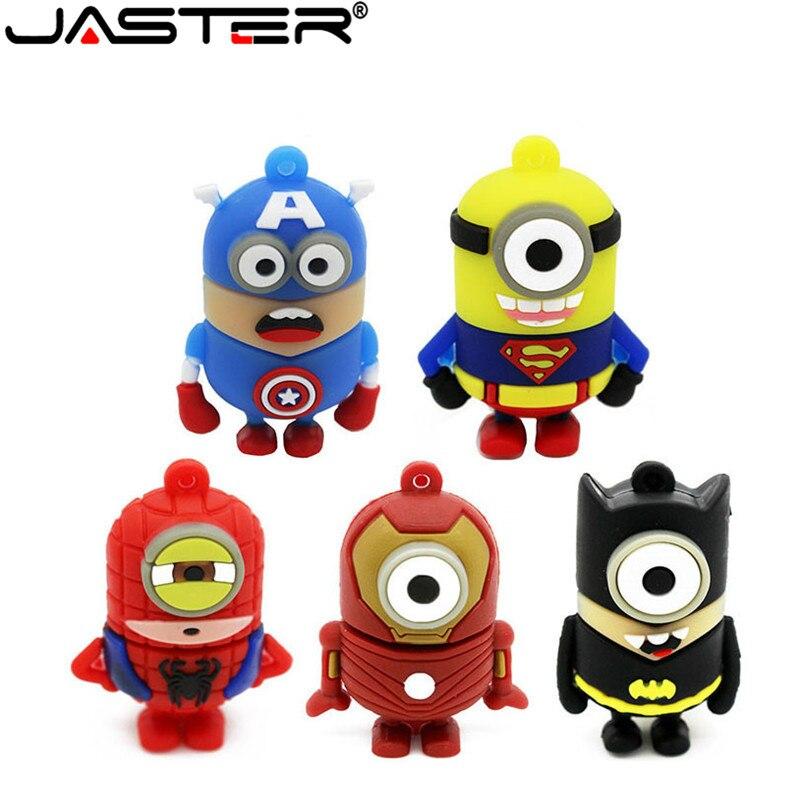Cartoon USB Flash Drive Cute Super Hero Minion 2.0 Pen Drive Spiderman/Superman/Batman/Iron Man Pendrive 32GB 8GB 16GB 4GB Stick