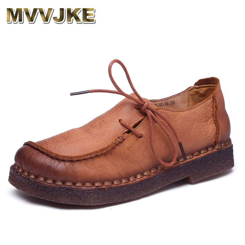 MVVJKE Handmade vintage women shoes genuine leather female moccasins loafers soft Comfortable casual shoes flats Plus Size цены онлайн