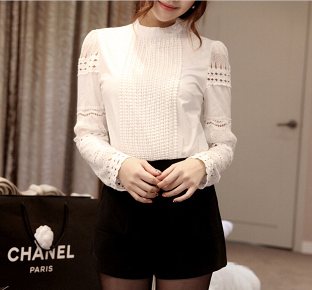 New Women Blouses Slim Bottoming Long-sleeved White Shirt Lace Hook Flower Hollow Plus Size S-5XL