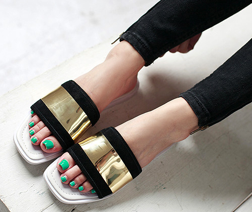 c36303eedcf Brand Summer Shoes Gold and Black Women Beach Slippers Slides Flat Sandals  Woman Female Ladies sandals 2015 Size 35-40