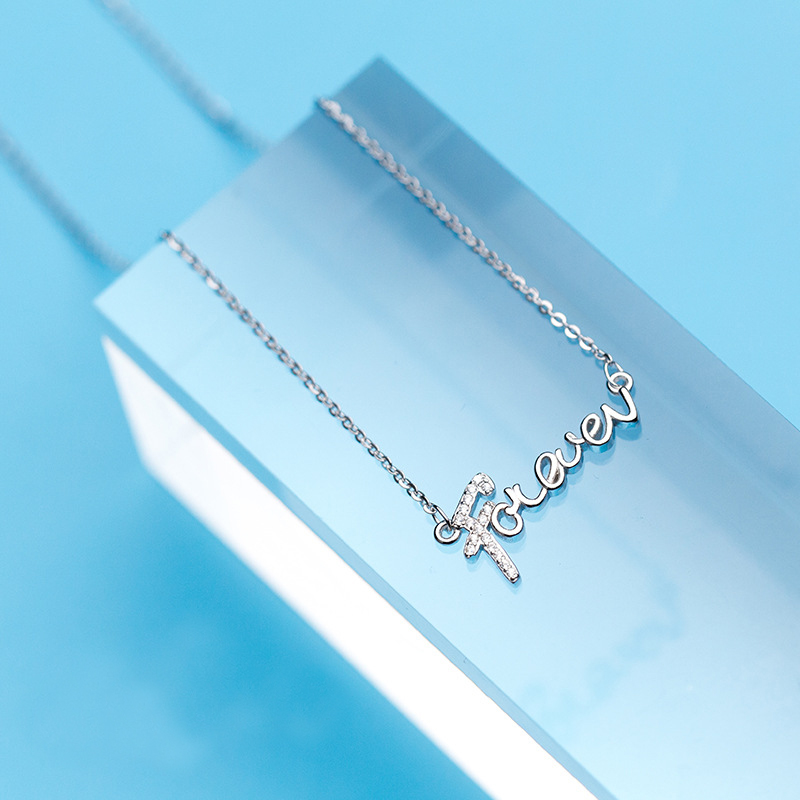 MloveAcc 100% 925 Sterling Silver Love Forever Letter Alphabet Pendant Necklaces CZ Zircon for Women Sterling Silver Jewelry
