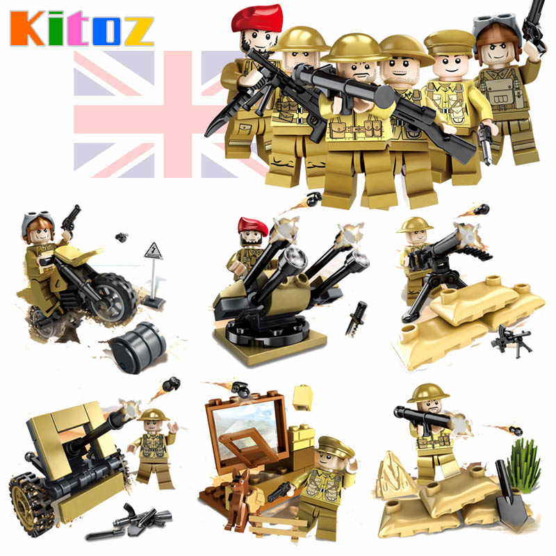 Kitoz WW2 UK British Army Soldiers World War II Battle of Imphal Military Building Block Toy Figure Compatible with lego