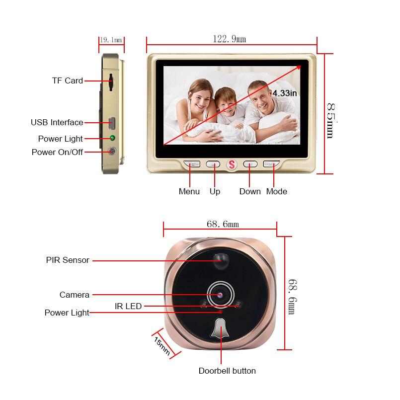 Saful judas numérique caméra vidéo porte cloche vidéo-oeil avec carte TF prenant Photo porte judas visionneuse moniteur pour la maison - 2