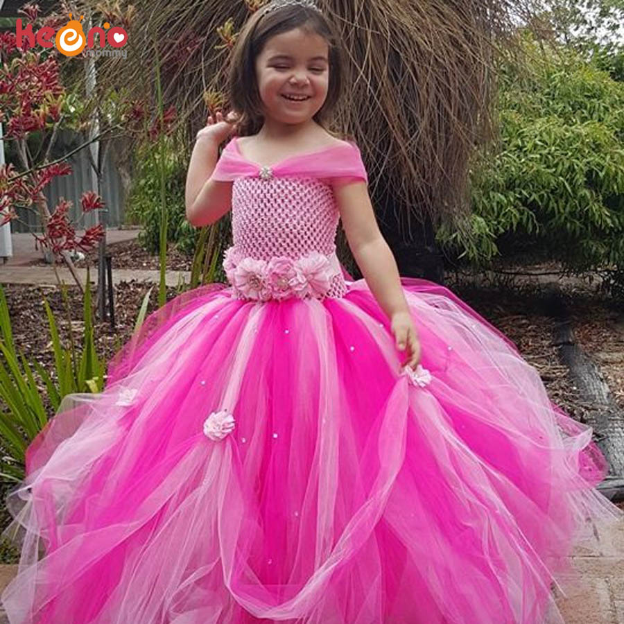 Beautiful Princess Tutu Gown for Weddings Birthday Dress Baby Girl Flower Tutu Dress Glittery Children Fancy Party Christmas Costumes (12)