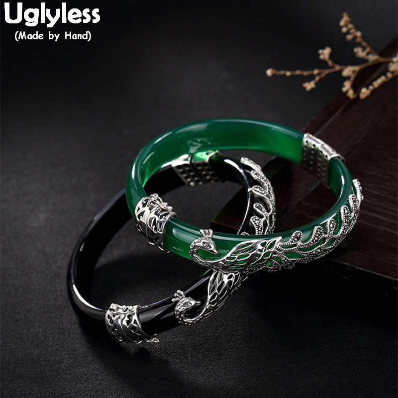 Uglyless Real 925 Sterling Silver Bangles Women Luxury Chalcedony Bangle Evening Dress Jewelry Handmade Marcasite Peacock