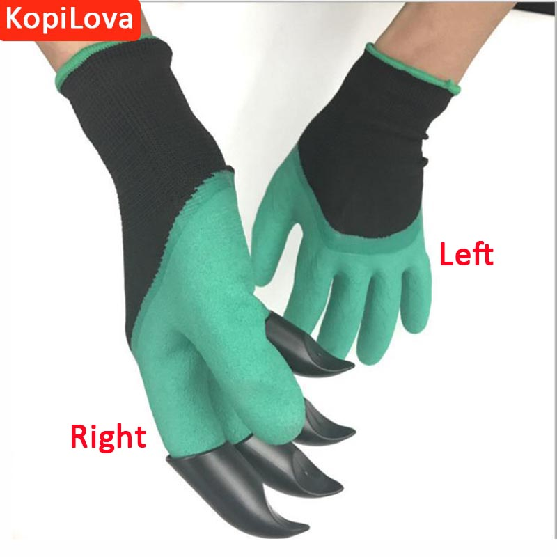 KopiLova 2 Pairs Garden Work Gloves With 4 ABS Finger Claws Dig Rake Plant Gloves for Hands Protection Free Shipping couple s capacitive screen touching hand warmer gloves deep pink black free size 2 pairs