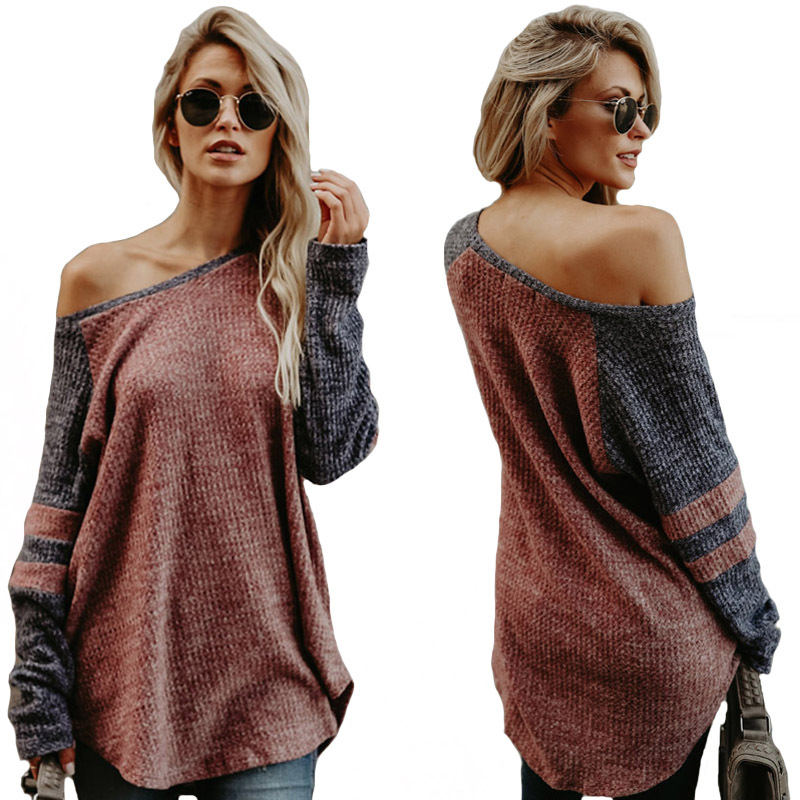 Irregular Off Shoulder Women Shirts Plus Size New Loose Long Sleeve Casual Female Oversize Contrast Color Sexy Party Tops