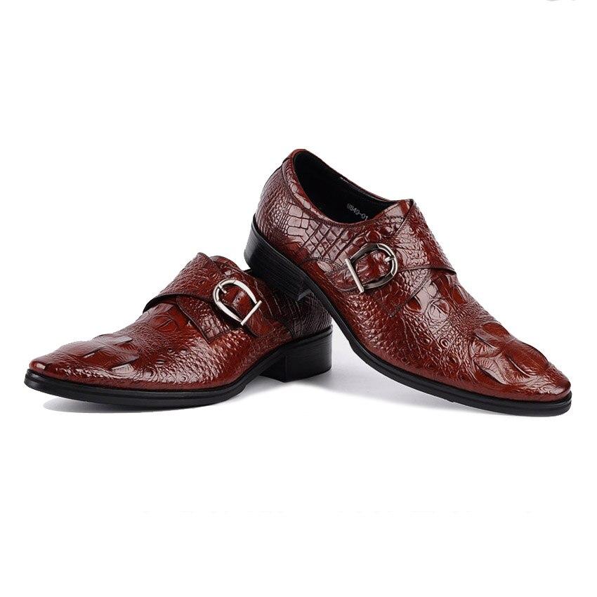 Hombre Tinto Lujo Formal Dedo Vestido vino Del Pie Los Puntiagudo De Correas Monje Cuero Negro Zapatos Oficina Ymx16 Calzado Cocodrilo Hombres Auténtico wqwr1OgZS