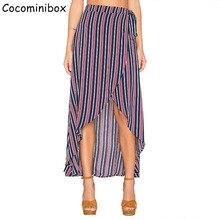 Cocominibox Women's Irregular Stripes Skirt Holiday Beach Bohemian Sexy Vestidos