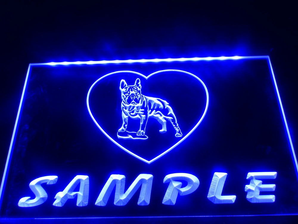 dz078 name personalized custom french bulldog dog house home led neon light sign in plaques. Black Bedroom Furniture Sets. Home Design Ideas