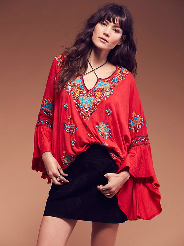 À Ethnique 2018 Feminina Blusas shirt Royaume Tops Gens Automne Manches Camisa Femme Lâche T Coton Longues uni D'été Flare Les Broderie CR5Yn75g