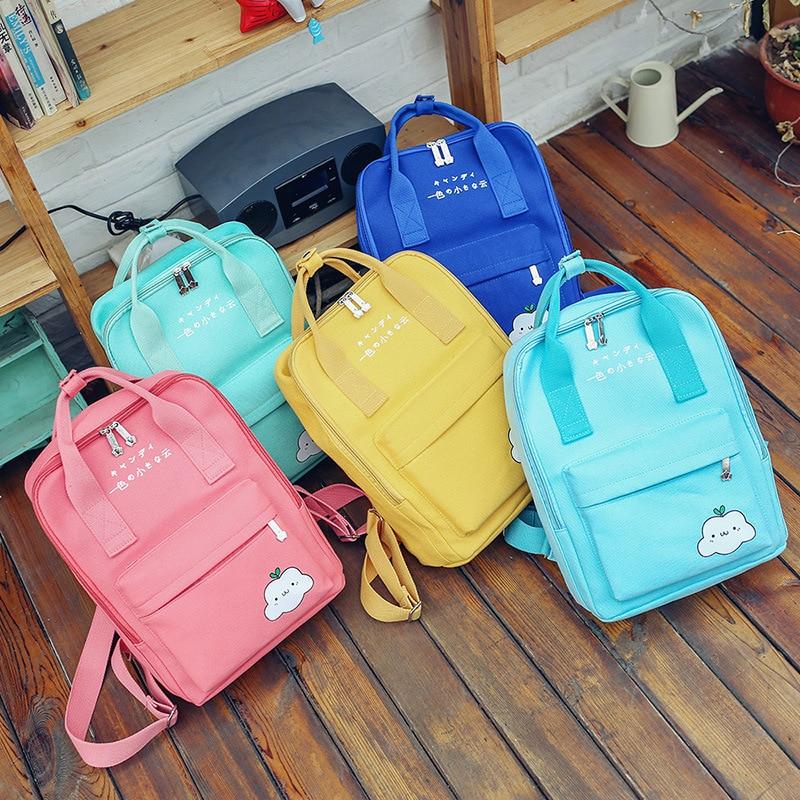 2017 summer new Japan and South Korea small fresh backbag cartoon cloud canvas multi-function portable backbag bim and the cloud