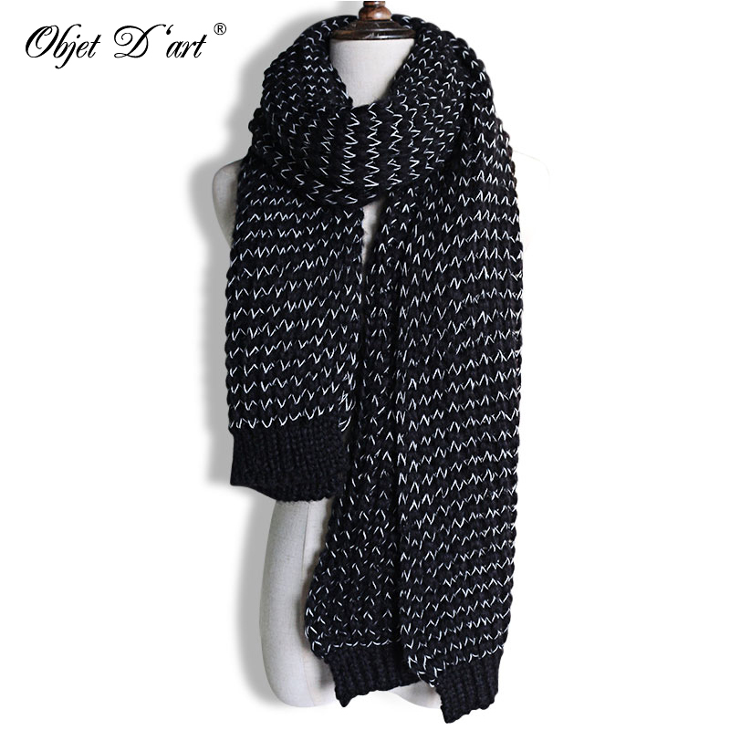 Knitted Scarf Pashmina Long-Shawl Christmas-Gifts Warm Vintage Male Winter Fashion High-Quality
