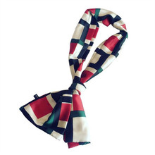 Women's Small Faux Silk Scarf Long Style Spring and Autumn Dual-use Decorative Print Neck Scarves Neckerchief Fashion Accessory