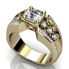 Huitan Luxury Gold Color Ring Band With Shiny Cubic Zircon Wedding Engagement Jewelry Hollow Design Accessories Hot Selling