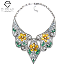2016 New ZA Luxury Crystal Fashion Collar Necklace Choker Bib Pearl Statement Necklaces & Pendants For Women Accessories Gift